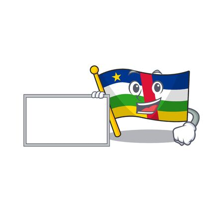 Flag central african with board cartoon Character design style. Vector illustration