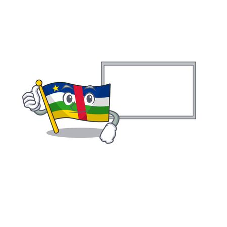 Flag central african cute cartoon character Thumbs up with board. Vector illustration
