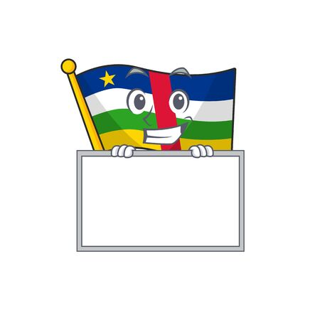 Grinning with board flag central african cartoon character style 向量圖像