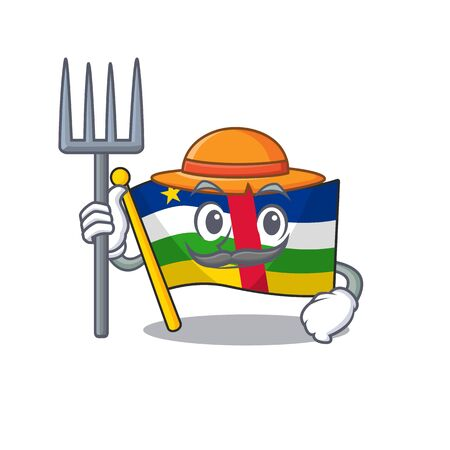 Farmer flag central african cartoon character with hat and tools Stock Illustratie