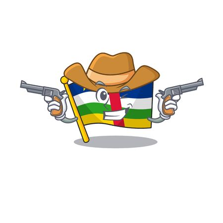 Flag central african cartoon character as a Cowboy holding guns