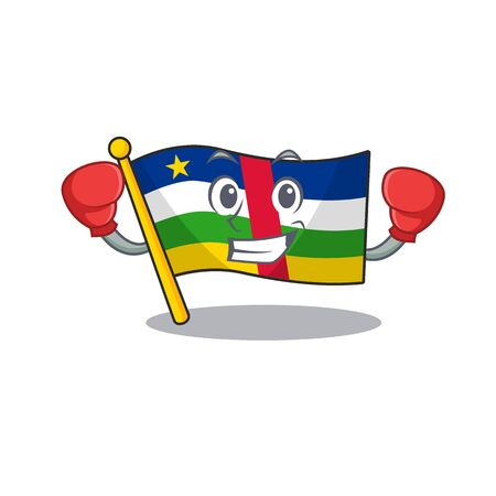 Funny Boxing flag central african cartoon character style. Vector illustration Archivio Fotografico - 134773910