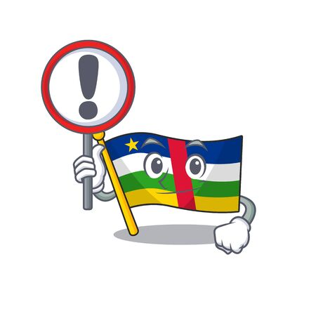 Cartoon style of flag central african with sign in his hand. Vector illustration
