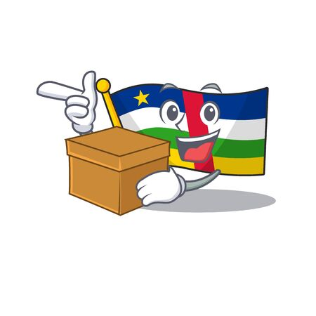 With box Super Funny flag central african cartoon character style. Vector illustration Ilustração