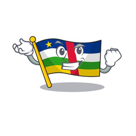 Happy confident Successful flag central african cartoon character style 向量圖像