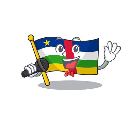 cartoon Singing flag central african while holding a microphone