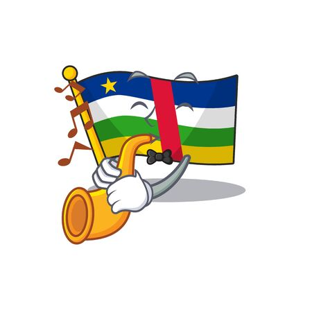 Super cool flag central african cartoon character performance with trumpet