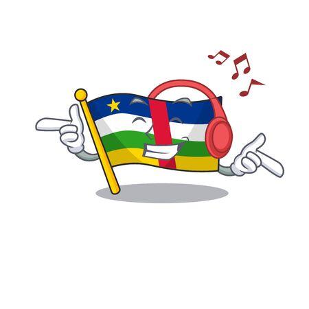 Listening music flag central african mascot cartoon character design. Vector illustration