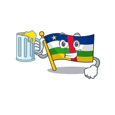 Happy flag central african holding a glass with juice Illustration