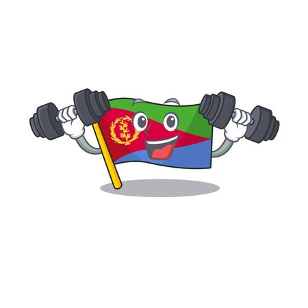 Fitness exercise flag eritrea cartoon character holding barbells