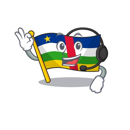 Flag central african cute cartoon character design with headphone