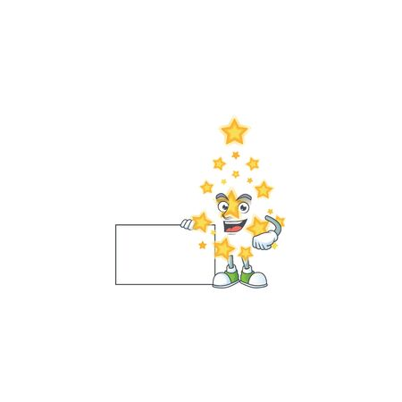 Christmas star cute cartoon character with a board. Vector illustration