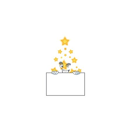 Grinning christmas star cartoon character style hides behind a board. Vector illustration 向量圖像