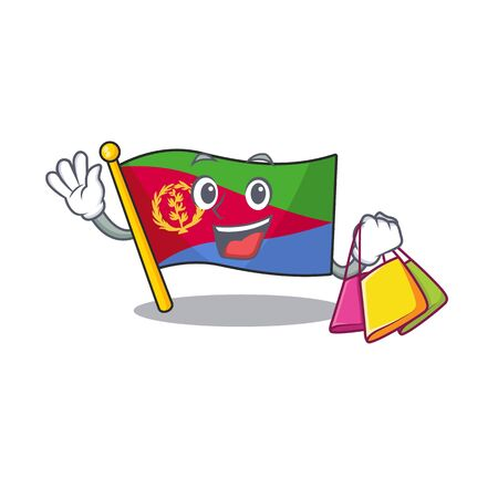 Cheerful flag eritrea cartoon character waving and holding Shopping bag. Vector illustration