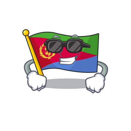 Super cool flag eritrea character wearing black glasses. Vector illustration