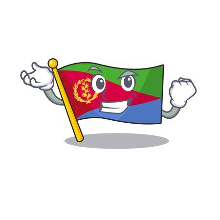 Happy confident Successful flag eritrea cartoon character style. Vector illustration