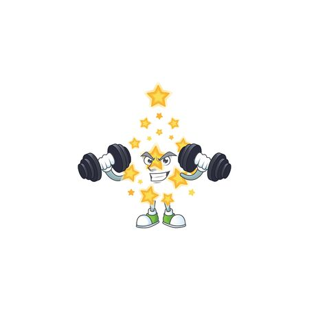 Fitness exercise christmas star cartoon character holding barbells. Vector illustration Ilustracja