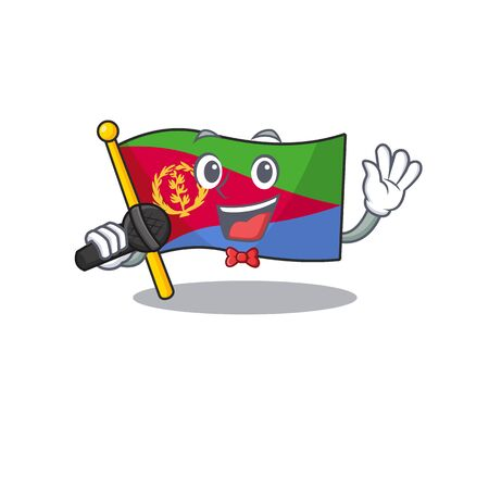 cartoon Singing flag eritrea while holding a microphone. Vector illustration