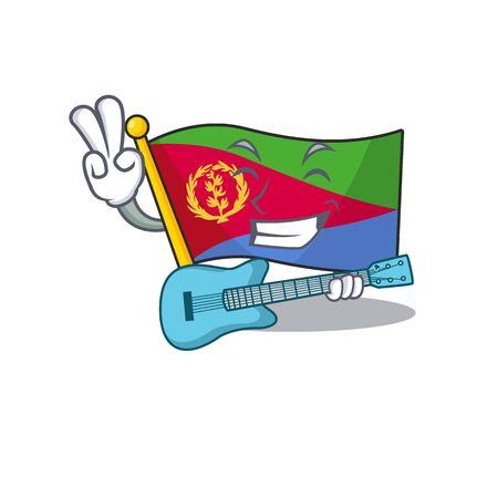 Super cool flag eritrea cartoon character performance with guitar Иллюстрация