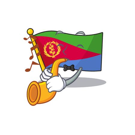 Super cool flag eritrea cartoon character performance with trumpet