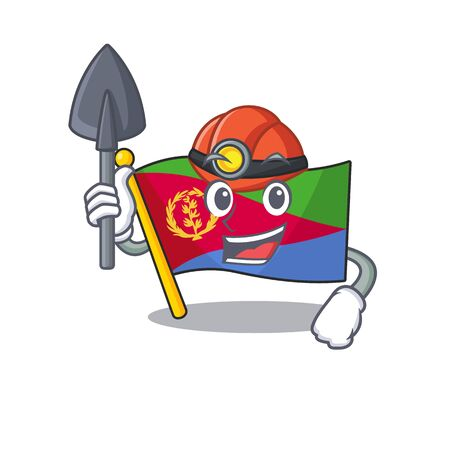 Cool Miner flag eritrea of cartoon mascot style. Vector illustration