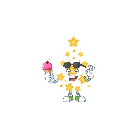 Mascot character featuring christmas star with ice cream. Vector illustration Ilustração