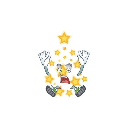 cute christmas star cartoon character style with shocking gesture. Vector illustration 向量圖像