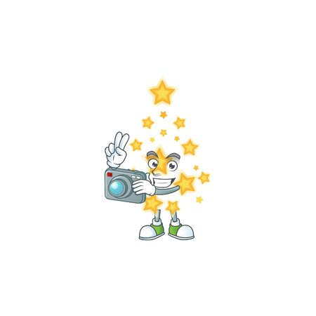 a professional Photographer christmas star cartoon character with a camera. Vector illustration Imagens - 134776849