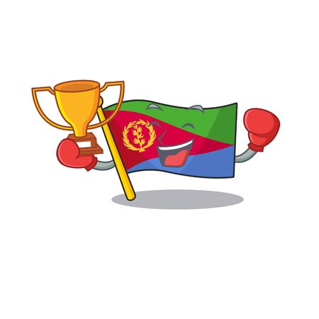 Super cool Boxing winner flag eritrea in mascot cartoon style Archivio Fotografico - 134779459