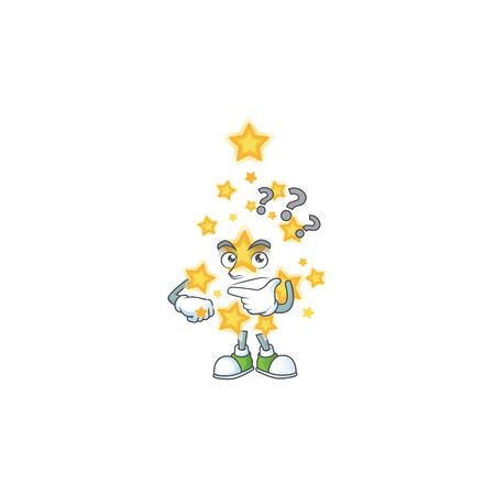 cartoon christmas star with confuse face style design. Vector illustration