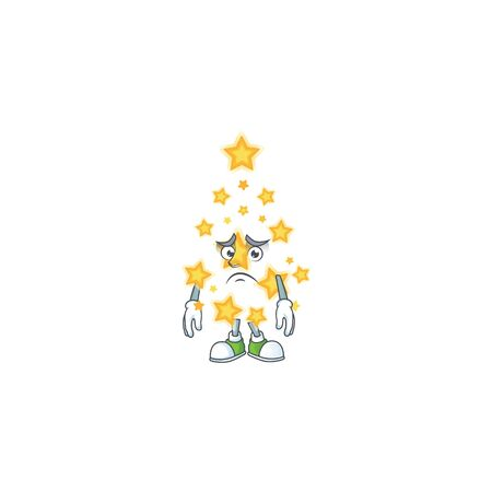 Christmas star Cartoon character showing afraid look face. Vector illustration