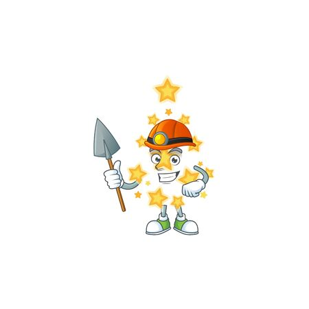 Cool Miner christmas star cartoon mascot design style. Vector illustration Stock Illustratie
