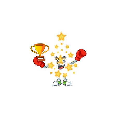 Super cool Boxing winner christmas star in mascot cartoon style. Vector illustration Archivio Fotografico - 134777000