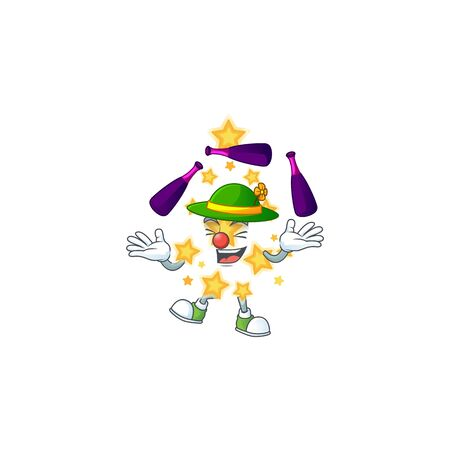 Super cool Juggling christmas star mascot cartoon style. Vector illustration