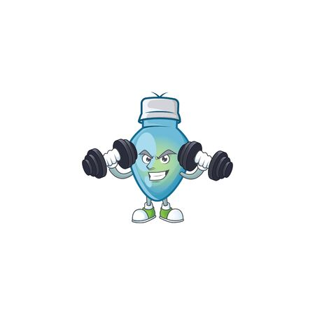 Fitness exercise blue christmas bulb cartoon character holding barbells. Vector illustration