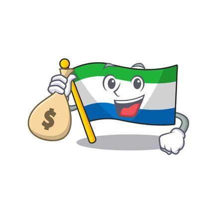 Cute flag sierra leone cartoon character smiley with money bag