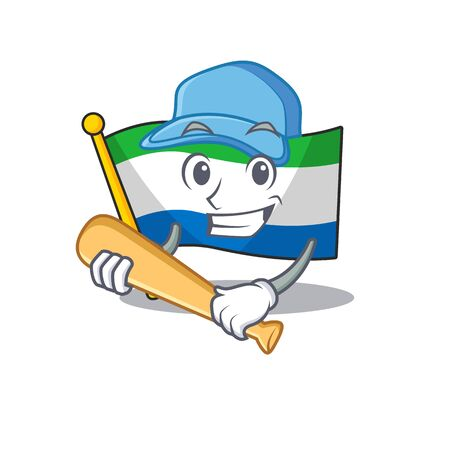 Funny smiling flag sierra leone cartoon mascot playing baseball
