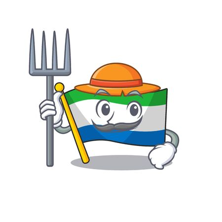 Farmer flag sierra leone cartoon character with hat and tools. Vector illustration