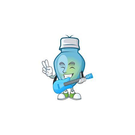 Super cool blue christmas bulb cartoon character performance with guitar. Vector illustration Иллюстрация