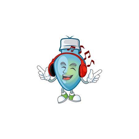 Listening music blue christmas bulb mascot cartoon design style. Vector illustration Иллюстрация