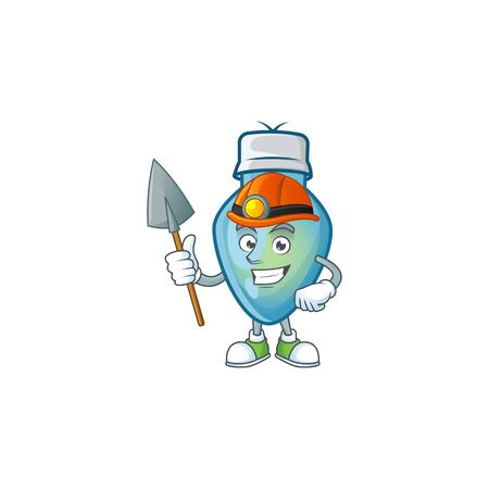 Cool Miner blue christmas bulb cartoon mascot design style. Vector illustration Stock Illustratie