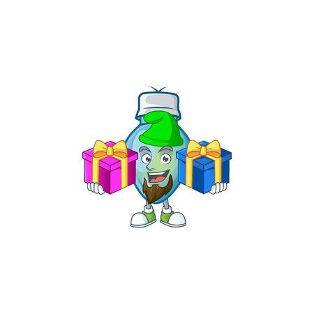 Super cute blue christmas bulb cartoon design with Christmas gifts. Vector illustration 向量圖像