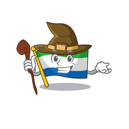 Happy Halloween Witch flag sierra leone cartoon character style