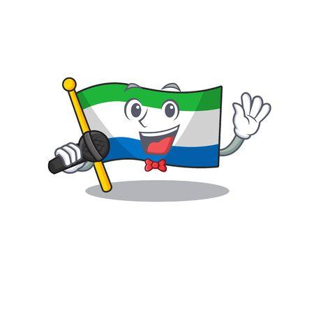 cartoon Singing flag sierra leone while holding a microphone Иллюстрация