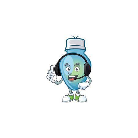 Blue christmas bulb cute cartoon character design with headphone. Vector illustration