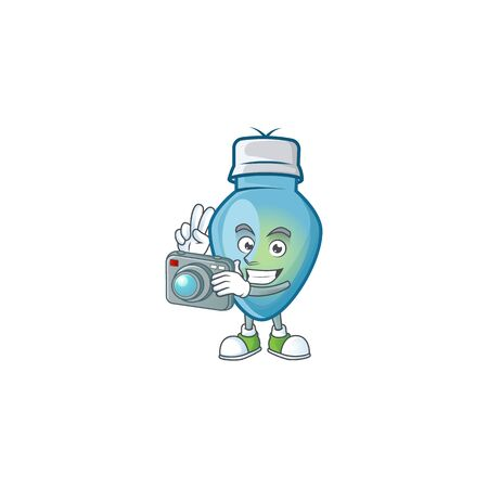 a professional Photographer blue christmas bulb cartoon character with a camera. Vector illustration