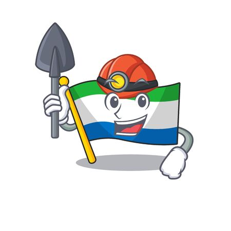 Cool Miner flag sierra leone of cartoon mascot style. Vector illustration