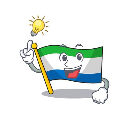 Have an idea cute flag sierra leone on a cartoon style. Vector illustration