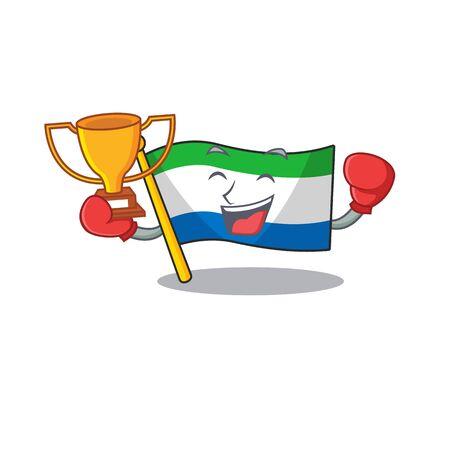 Super cool Boxing winner flag sierra leone in mascot cartoon style Archivio Fotografico - 134782188