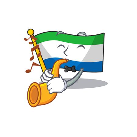 Super cool flag sierra leone cartoon character performance with trumpet 일러스트